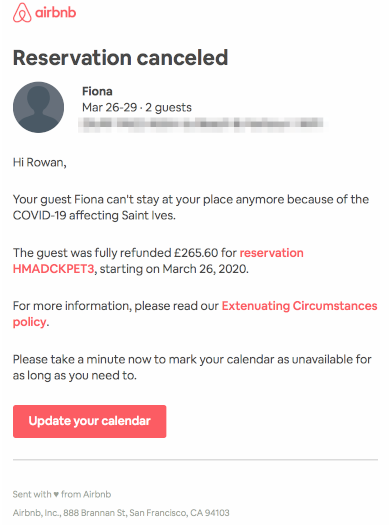 cancelled reservation on airbnb