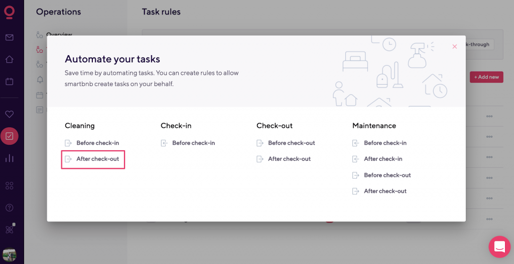 pop up task rules
